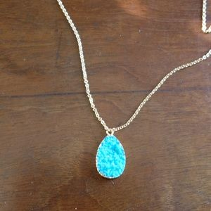 BaubleBar Jewelry - BaubleBar Druzy Pendant Necklace Turquoise & Gold